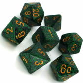 Green & Black 'Golden Recon' Speckled Polyhedral 7 Dice Set